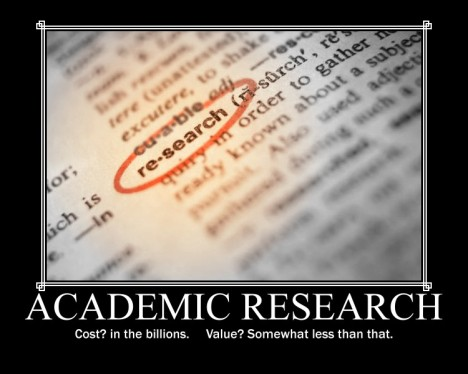 Academic Research: Cost? In the Billkions. Value? Somewhat less than that.