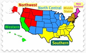 Map of U.S. showing regional accrediting territories
