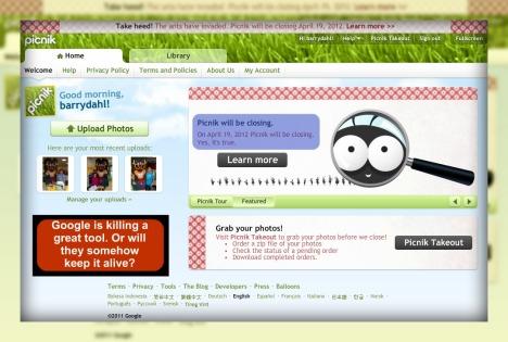 Picnik website before closing in April 2012