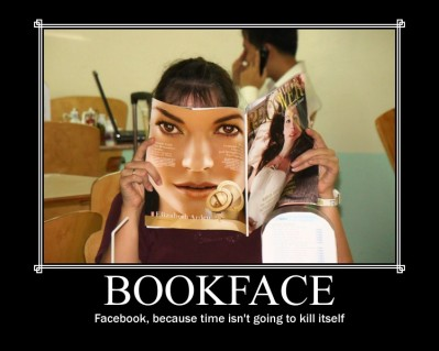 Bookface photo of woman with a magazine obscuring her face