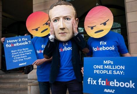 Fake Zuckerberg protester in London